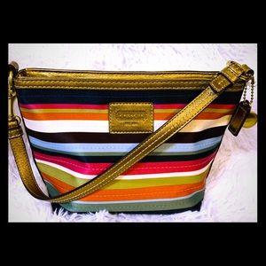 Coach legacy striped Satin w/metallic leather bag